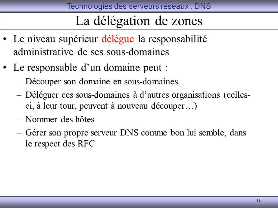 16 La délégation de zones Le niveau supérieur délègue la responsabilité administrative de ses sous-domaines Le responsable d'un domaine peut : –Découp