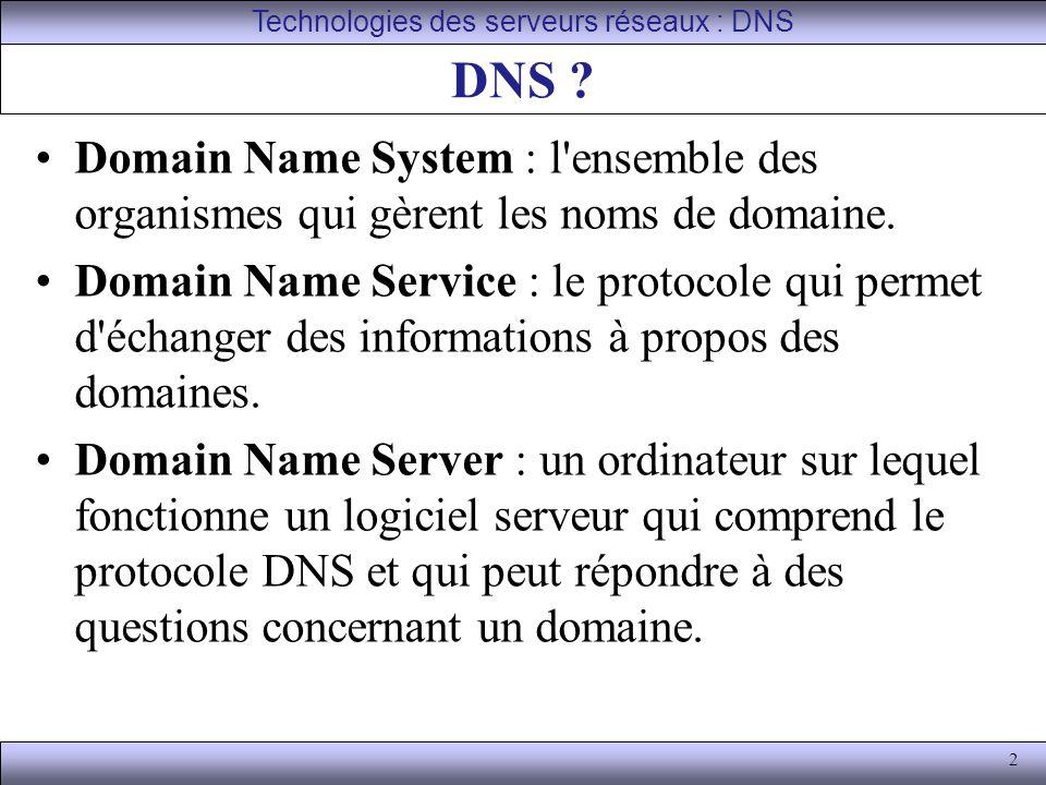 2 DNS ? Domain Name System : l'ensemble des organismes qui gèrent les noms de domaine. Domain Name Service : le protocole qui permet d'échanger des in