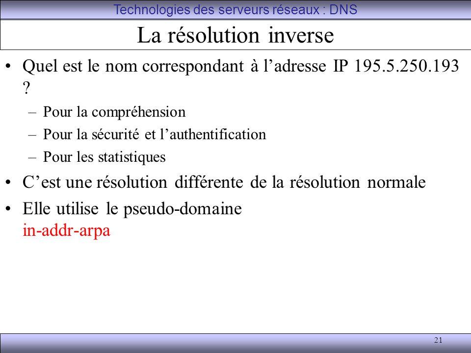 21 La résolution inverse Quel est le nom correspondant à l'adresse IP 195.5.250.193 ? –Pour la compréhension –Pour la sécurité et l'authentification –