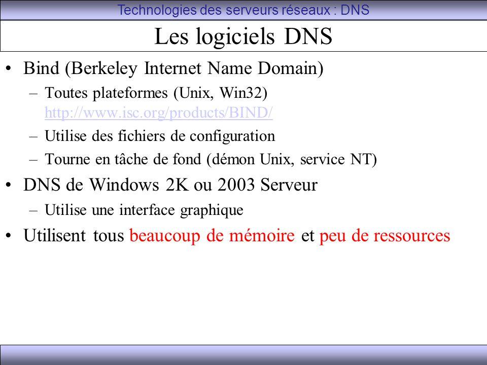 Les logiciels DNS Bind (Berkeley Internet Name Domain) –Toutes plateformes (Unix, Win32) http://www.isc.org/products/BIND/ http://www.isc.org/products