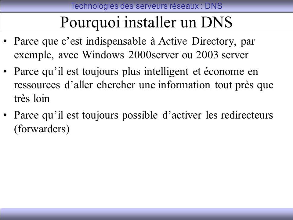 Pourquoi installer un DNS Parce que c'est indispensable à Active Directory, par exemple, avec Windows 2000server ou 2003 server Parce qu'il est toujou