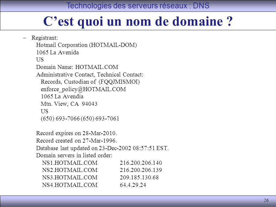 26 C'est quoi un nom de domaine ? –Registrant: Hotmail Corporation (HOTMAIL-DOM) 1065 La Avenida US Domain Name: HOTMAIL.COM Administrative Contact, T