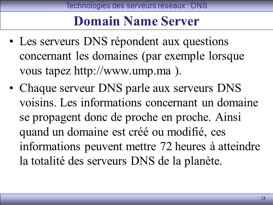28 Domain Name Server Les serveurs DNS répondent aux questions concernant les domaines (par exemple lorsque vous tapez http://www.ump.ma ). Chaque ser