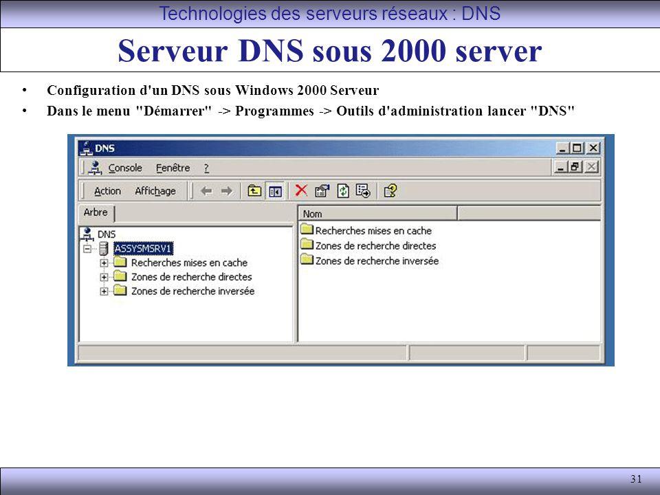 31 Serveur DNS sous 2000 server Configuration d'un DNS sous Windows 2000 Serveur Dans le menu