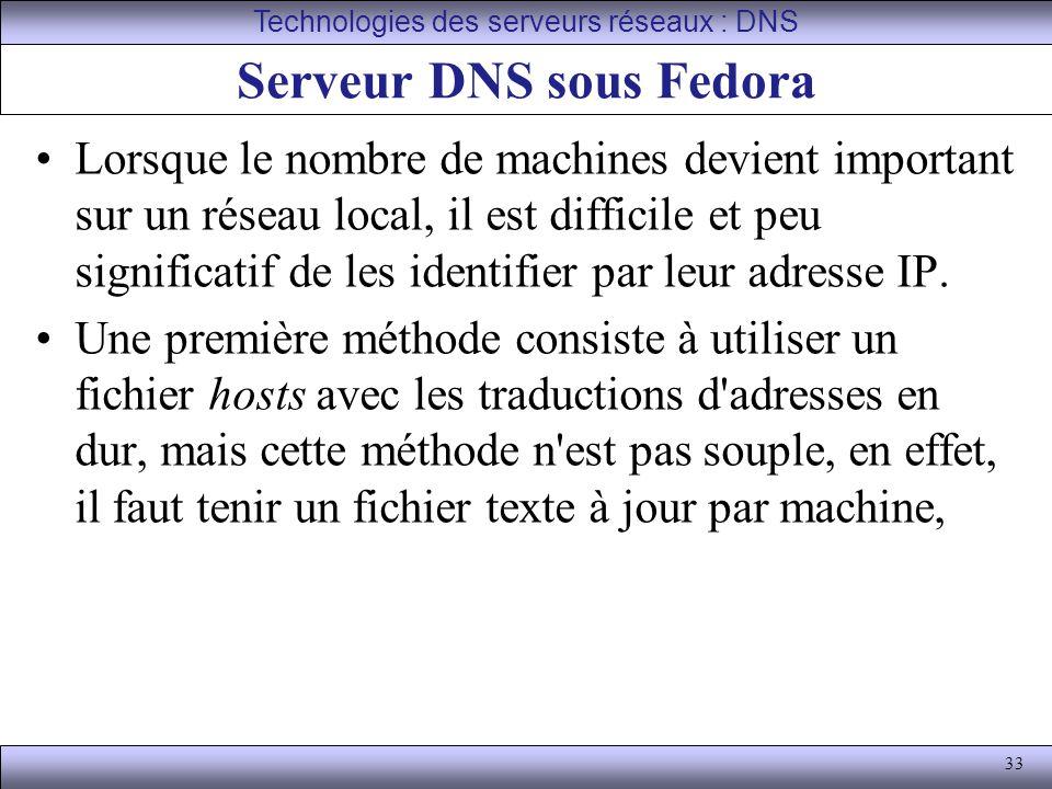 33 Serveur DNS sous Fedora Lorsque le nombre de machines devient important sur un réseau local, il est difficile et peu significatif de les identifier