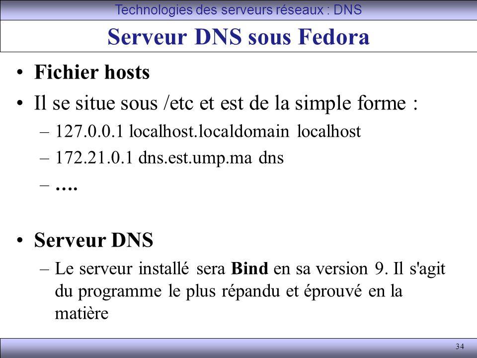 34 Serveur DNS sous Fedora Fichier hosts Il se situe sous /etc et est de la simple forme : –127.0.0.1 localhost.localdomain localhost –172.21.0.1 dns.