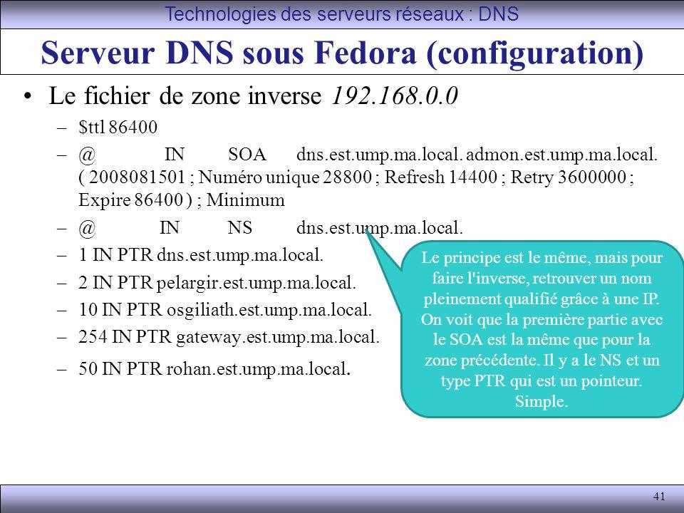 41 Serveur DNS sous Fedora (configuration) Le fichier de zone inverse 192.168.0.0 –$ttl 86400 –@ IN SOA dns.est.ump.ma.local. admon.est.ump.ma.local.