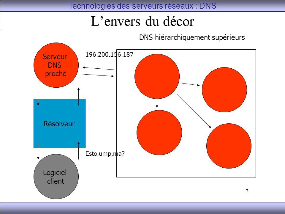 18 Les résolveurs Ce sont les processus clients qui contactent les DNS Le résolveur : –Contacte les DNS –Interprète les réponses et éventuelles anomalies –Retourne l'information au logiciel demandeur (navigateur, courrielleur, etc.) –Stocke l'information dans un cache Technologies des serveurs réseaux : DNS