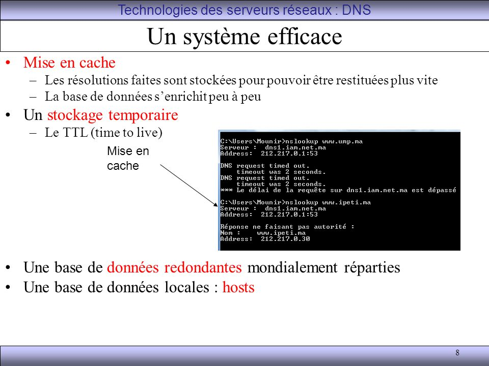 9 Les outils pour le DNS ping et ping –a qui interroge le DNS Nslookup ipconfig avec les options –/displaydns (afficher un cache de résolution client) –/flushdns (Purger le cache de résolution DNS) Technologies des serveurs réseaux : DNS