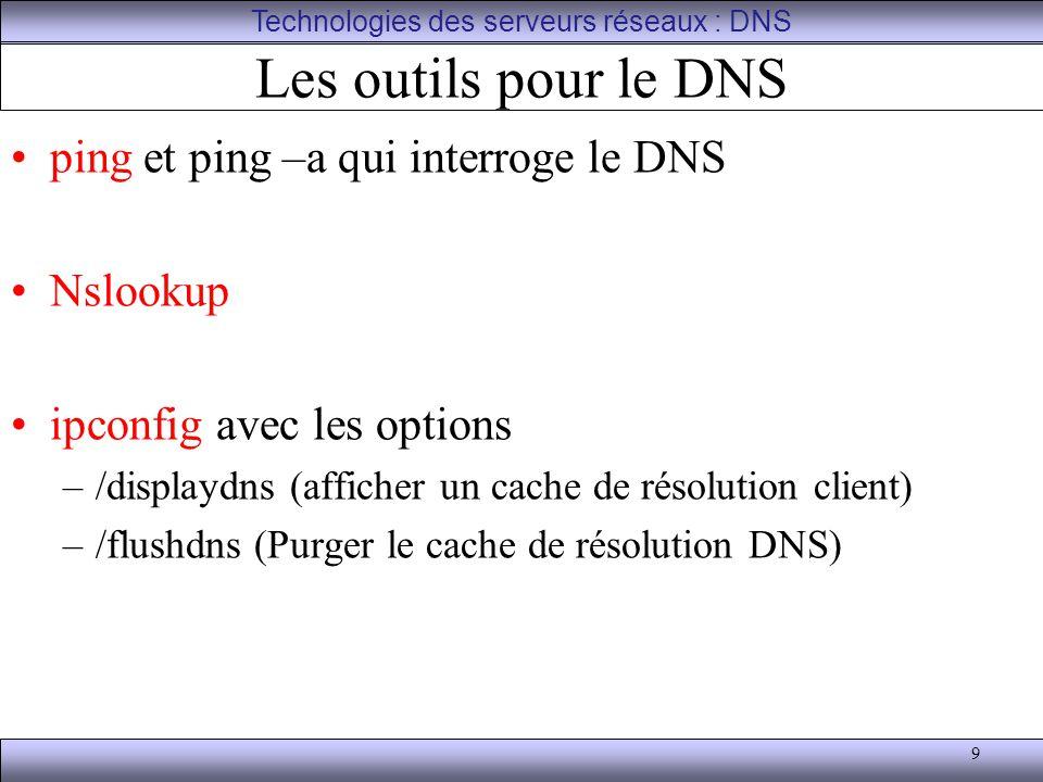9 Les outils pour le DNS ping et ping –a qui interroge le DNS Nslookup ipconfig avec les options –/displaydns (afficher un cache de résolution client)