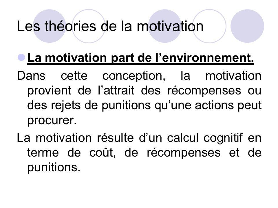 Les théories de la motivation La motivation part de l'environnement. Dans cette conception, la motivation provient de l'attrait des récompenses ou des