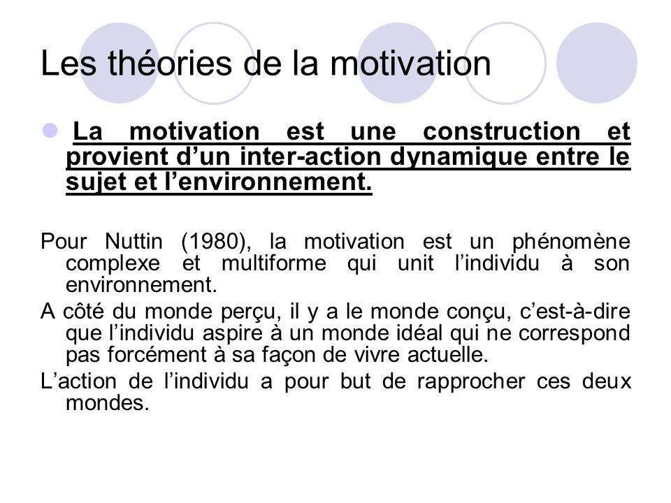 Les théories de la motivation La motivation est une construction et provient d'un inter-action dynamique entre le sujet et l'environnement. Pour Nutti