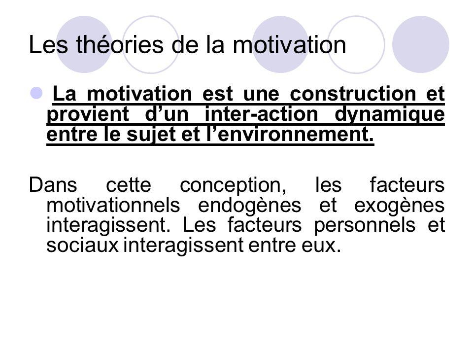 Les théories de la motivation La motivation est une construction et provient d'un inter-action dynamique entre le sujet et l'environnement. Dans cette