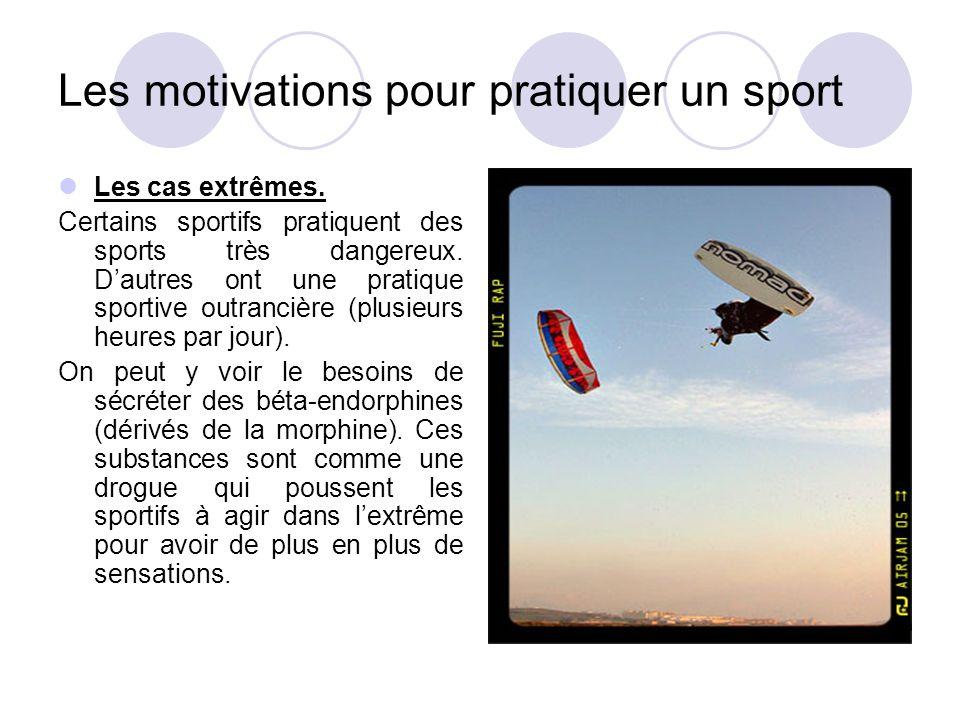 Les motivations pour pratiquer un sport Les cas extrêmes. Certains sportifs pratiquent des sports très dangereux. D'autres ont une pratique sportive o