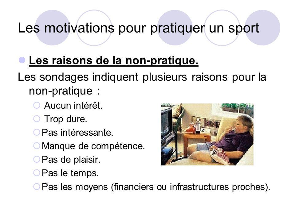 Les motivations pour pratiquer un sport Les raisons de la non-pratique. Les sondages indiquent plusieurs raisons pour la non-pratique :  Aucun intérê