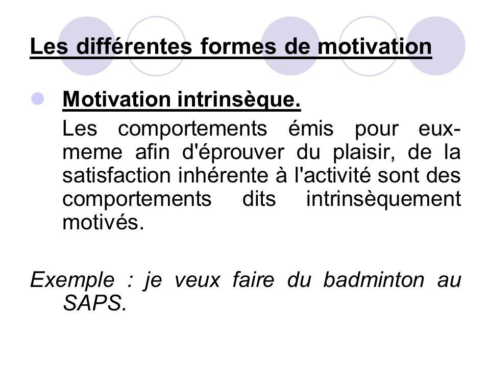 Les différentes formes de motivation Motivation intrinsèque. Les comportements émis pour eux- meme afin d'éprouver du plaisir, de la satisfaction inhé