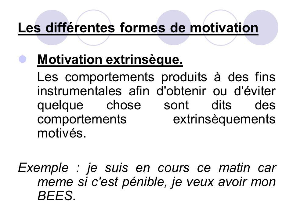 Les différentes formes de motivation Motivation extrinsèque. Les comportements produits à des fins instrumentales afin d'obtenir ou d'éviter quelque c