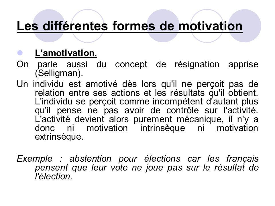 Les différentes formes de motivation L'amotivation. On parle aussi du concept de résignation apprise (Selligman). Un individu est amotivé dès lors qu'