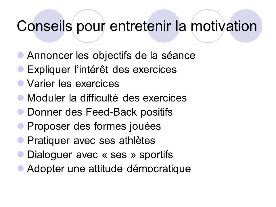 Conseils pour entretenir la motivation Annoncer les objectifs de la séance Expliquer l'intérêt des exercices Varier les exercices Moduler la difficult