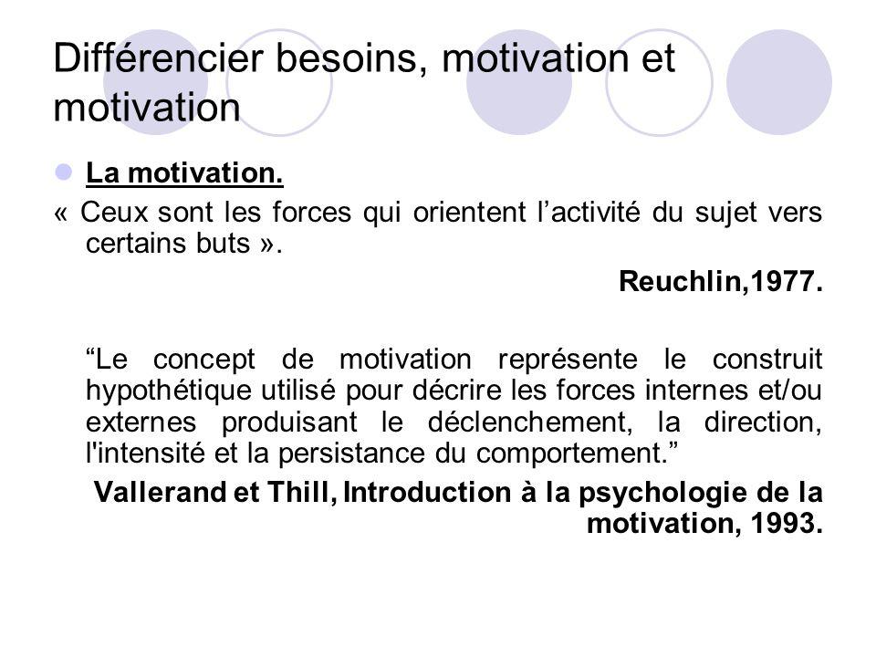 Différencier besoins, motivation et motivation La motivation. « Ceux sont les forces qui orientent l'activité du sujet vers certains buts ». Reuchlin,