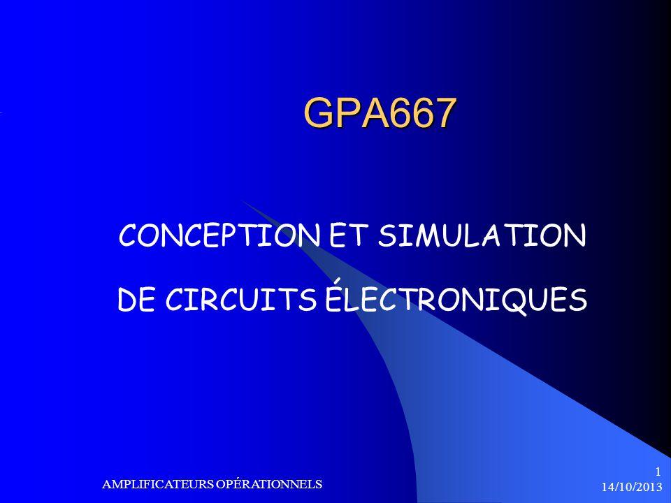 14/10/2013 AMPLIFICATEURS OPÉRATIONELS 22 Taux de montée SR « SLEW-RATE » Si le signal de sortie est élevé, la fréquence maximale qui peut être amplifiée sans distorsion sera plus basse.