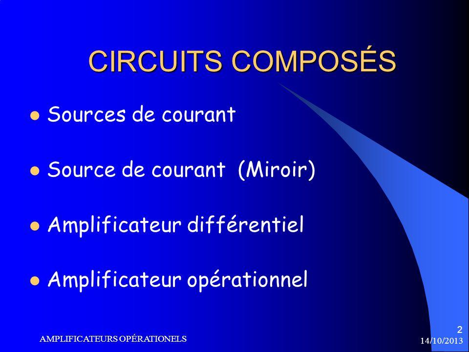 14/10/2013 AMPLIFICATEURS OPÉRATIONELS 13 CIRCUITS DE BASE INVERSEUR NON INVERSEUR SUIVEUR SOMMATEUR INTÉGRATEUR DÉRIVATEUR Vous avez déjà vu ces circuits de base en GPA325