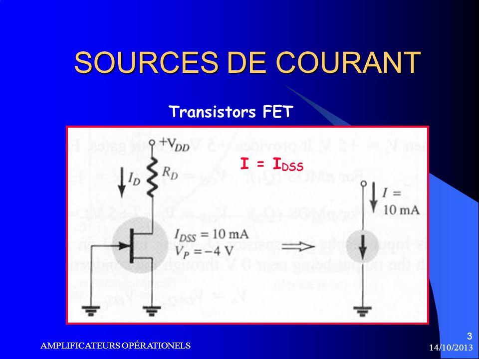 14/10/2013 AMPLIFICATEURS OPÉRATIONELS 4 SOURCES MIROIRS Transistors BJT +vcc