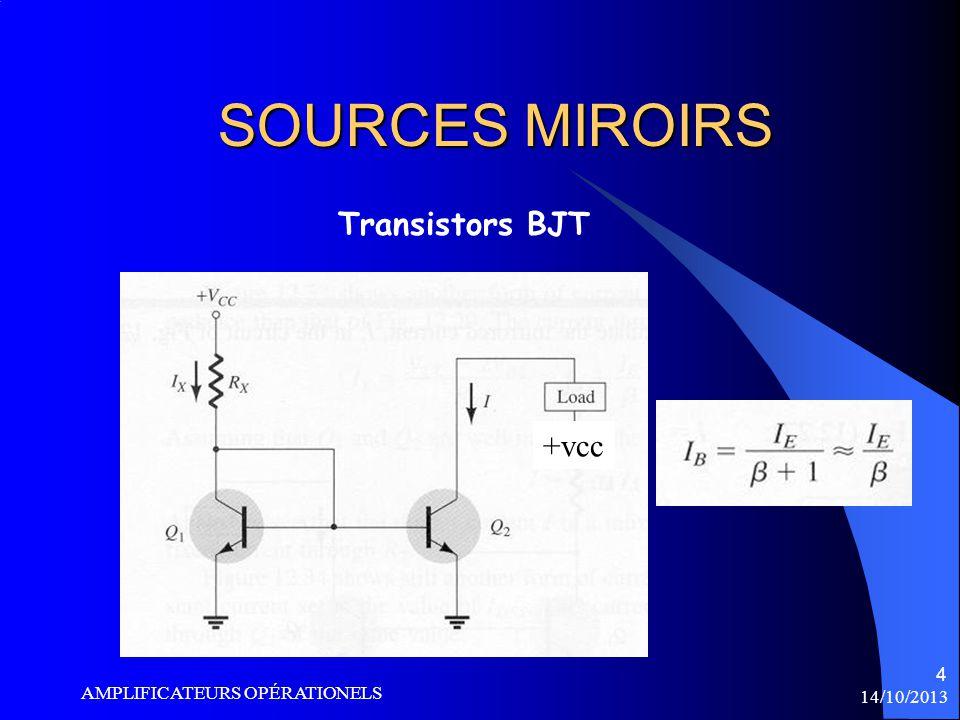 14/10/2013 AMPLIFICATEURS OPÉRATIONELS 5 SOURCES MIROIRS Transistors BJT +vcc