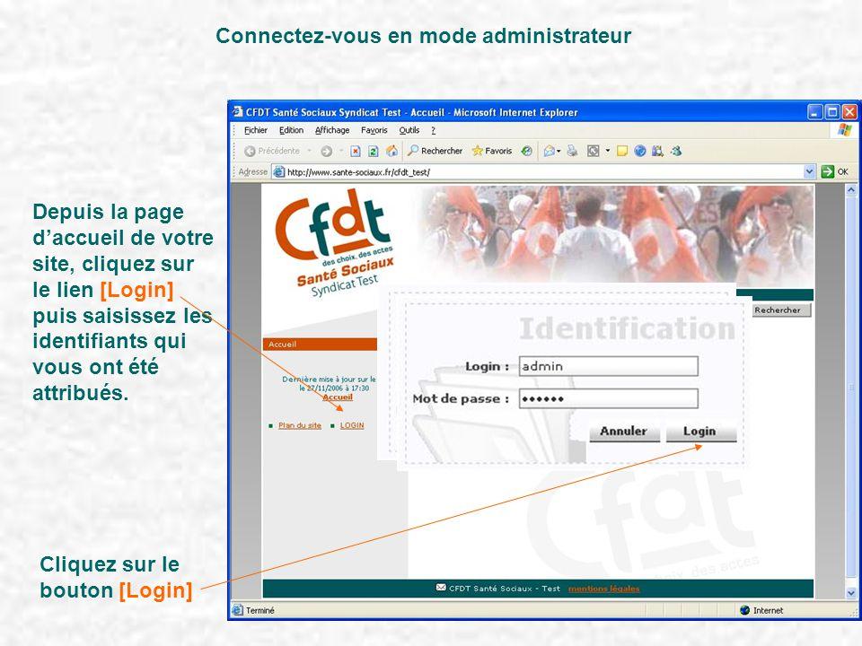 Depuis la page d'accueil de votre site, cliquez sur le lien [Login] puis saisissez les identifiants qui vous ont été attribués. Connectez-vous en mode