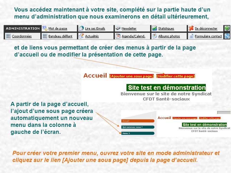 Vous accédez maintenant à votre site, complété sur la partie haute d'un menu d'administration que nous examinerons en détail ultérieurement, et de liens vous permettant de créer des menus à partir de la page d'accueil ou de modifier la présentation de cette page.