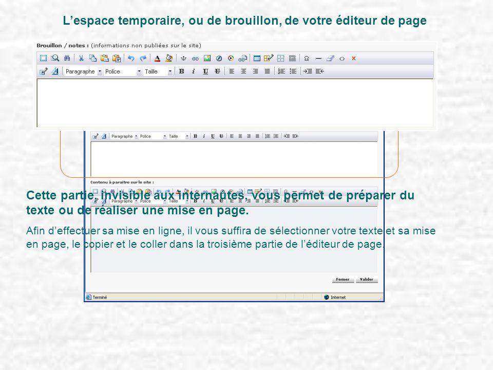 L'espace temporaire, ou de brouillon, de votre éditeur de page Cette partie, invisible aux internautes, vous permet de préparer du texte ou de réaliser une mise en page.