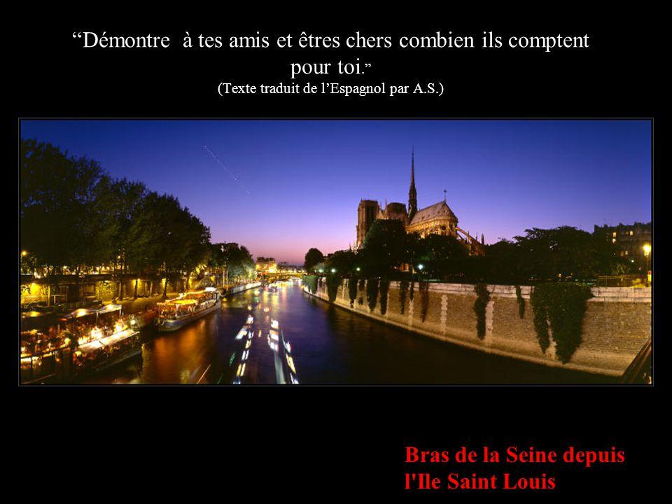 """Notre-Dame de Paris depuis le Pont de l'Archevéché """"Personne ne se souviendra de toi pour tes pensées secrètes. Demande au Seigneur la force et la sag"""