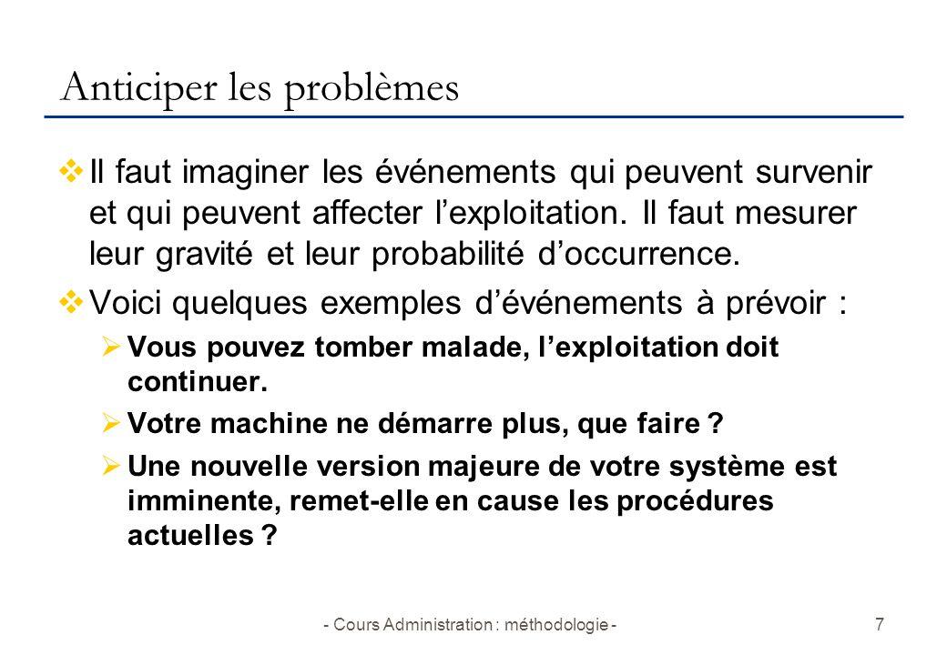- Cours Administration : méthodologie -7 Anticiper les problèmes  Il faut imaginer les événements qui peuvent survenir et qui peuvent affecter l'exploitation.