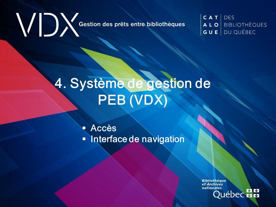 test 4. Système de gestion de PEB (VDX)  Accès  Interface de navigation