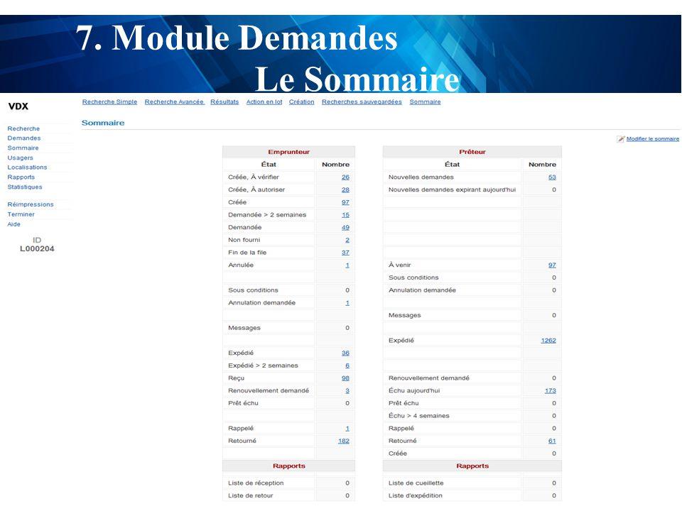 test 7. Module Demandes Le Sommaire