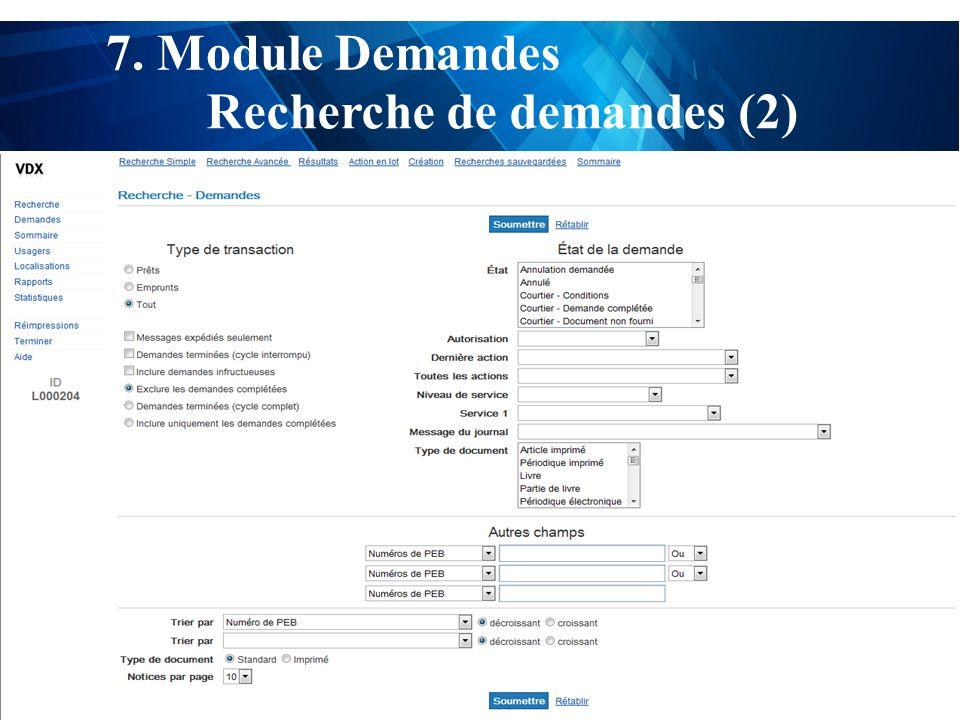 test 7. Module Demandes Recherche de demandes (2)