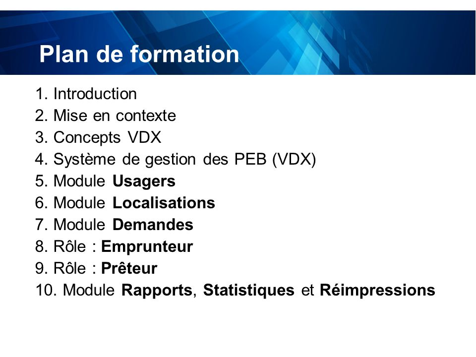 test Plan de formation 1. Introduction 2. Mise en contexte 3.