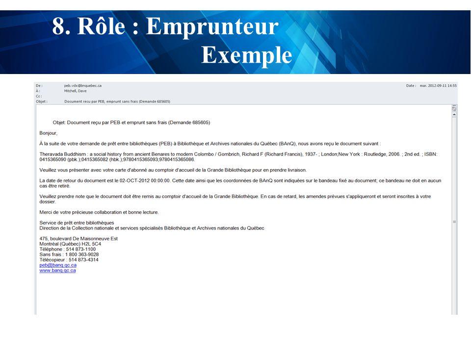 test 8. Rôle : Emprunteur Exemple