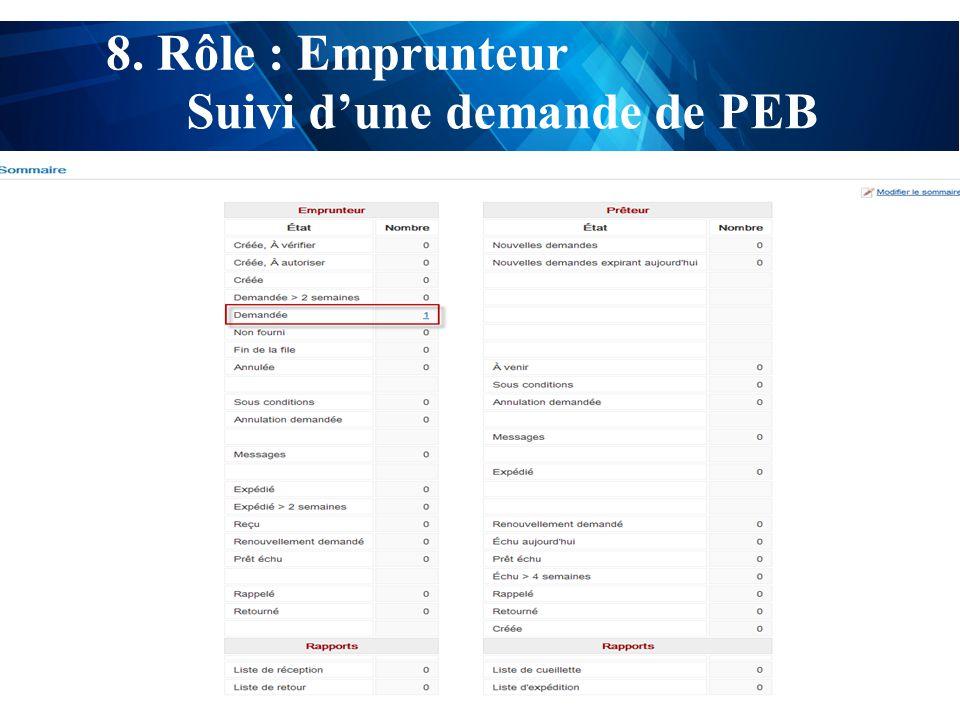 test 8. Rôle : Emprunteur Suivi d'une demande de PEB