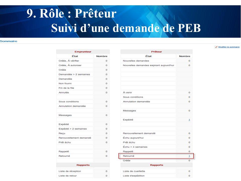 test 9. Rôle : Prêteur Suivi d'une demande de PEB