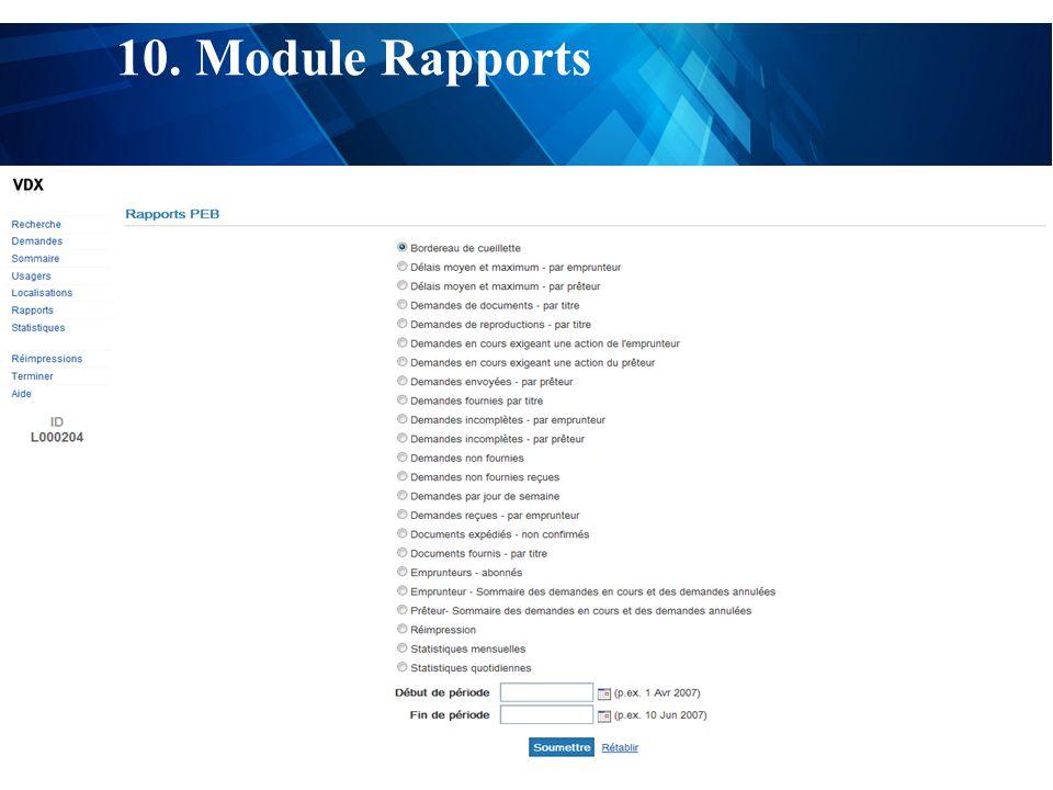 test 10. Module Rapports
