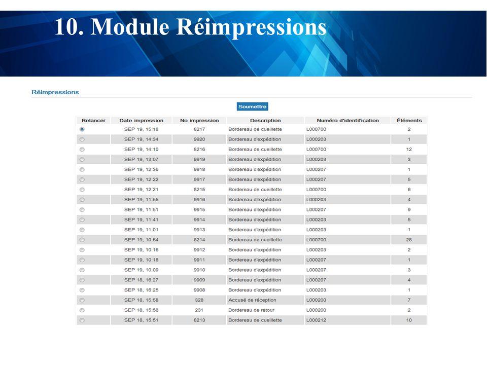 test 10. Module Réimpressions