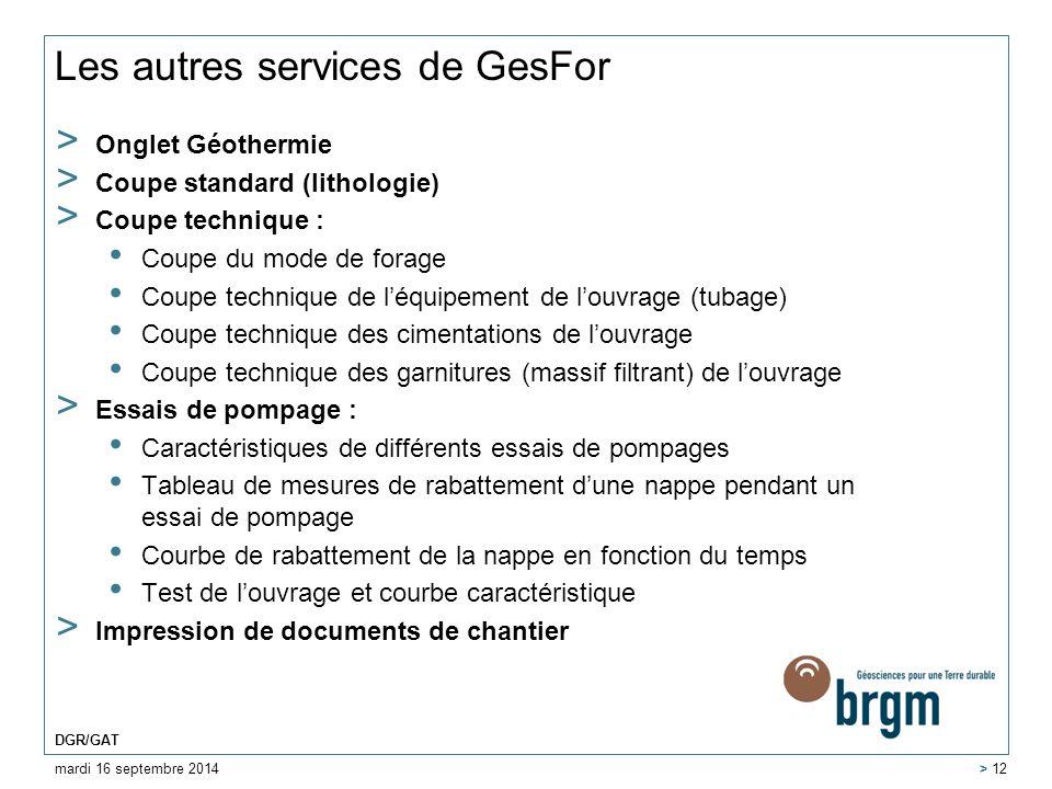 Les autres services de GesFor > Onglet Géothermie > Coupe standard (lithologie) > Coupe technique : Coupe du mode de forage Coupe technique de l'équip