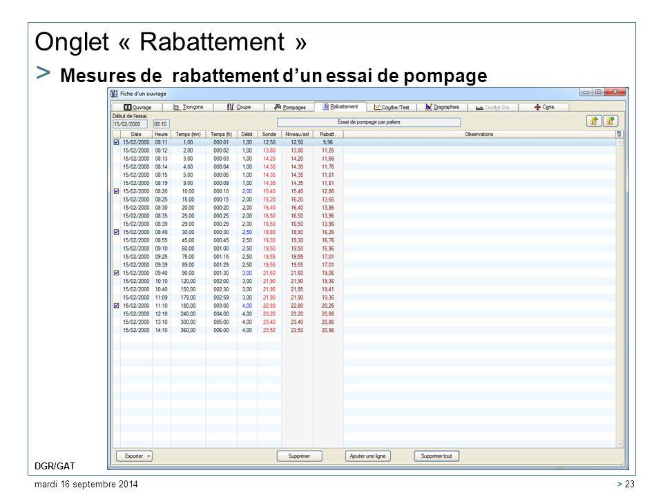 Onglet « Rabattement » > Mesures de rabattement d'un essai de pompage mardi 16 septembre 2014 DGR/GAT > 23
