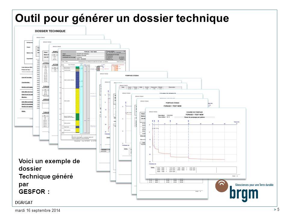 Outil pour générer un dossier technique mardi 16 septembre 2014 DGR/GAT > 5 Voici un exemple de dossier Technique généré par GESFOR :