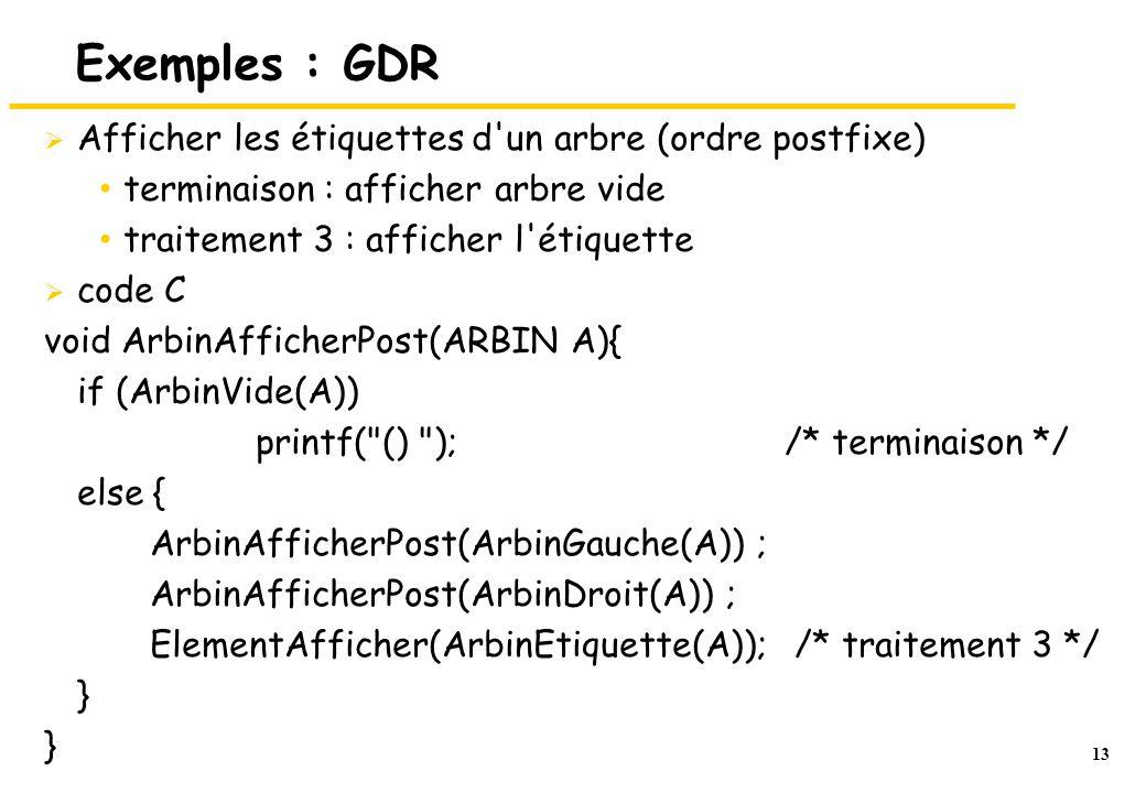 13 Exemples : GDR  Afficher les étiquettes d'un arbre (ordre postfixe) terminaison : afficher arbre vide traitement 3 : afficher l'étiquette  code C