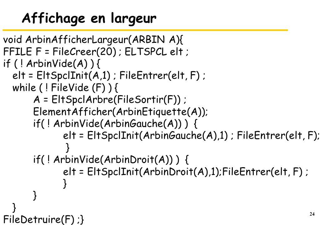 24 Affichage en largeur void ArbinAfficherLargeur(ARBIN A){ FFILE F = FileCreer(20) ; ELTSPCL elt ; if ( ! ArbinVide(A) ) { elt = EltSpclInit(A,1) ; F