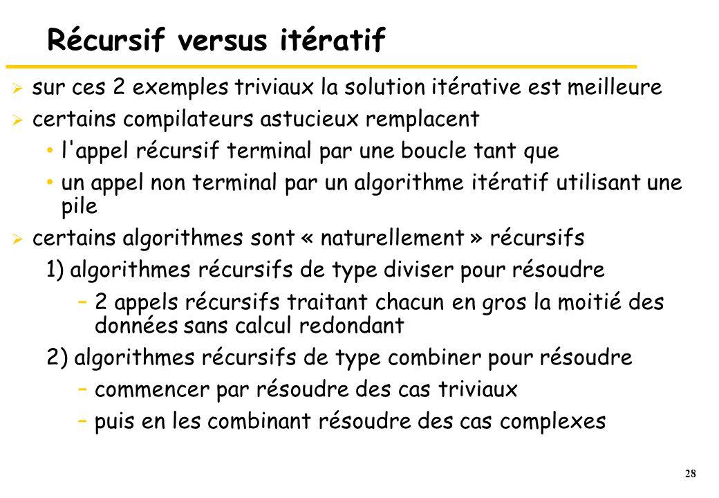 28 Récursif versus itératif  sur ces 2 exemples triviaux la solution itérative est meilleure  certains compilateurs astucieux remplacent l'appel réc