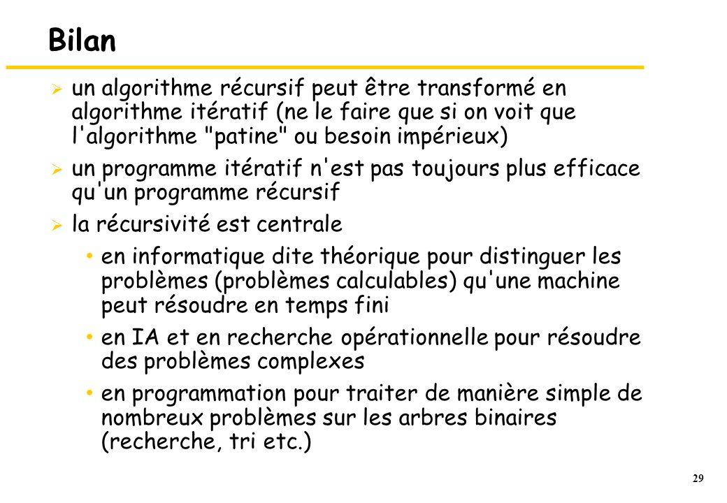 29 Bilan  un algorithme récursif peut être transformé en algorithme itératif (ne le faire que si on voit que l'algorithme