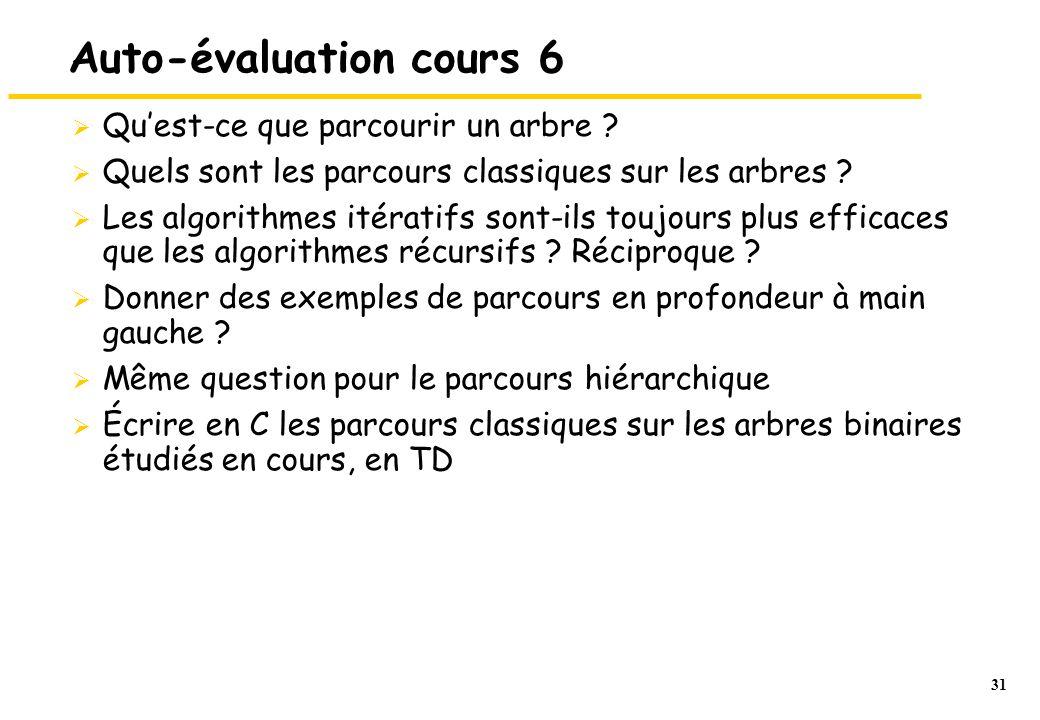 31 Auto-évaluation cours 6  Qu'est-ce que parcourir un arbre ?  Quels sont les parcours classiques sur les arbres ?  Les algorithmes itératifs sont